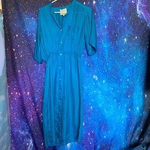 Lord & Taylor- Blue Button up Dress size Medium